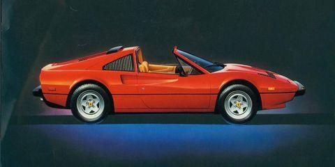 1985 Ferrari 308 Quattrovalvole brochure, including specifications and fuel economy.