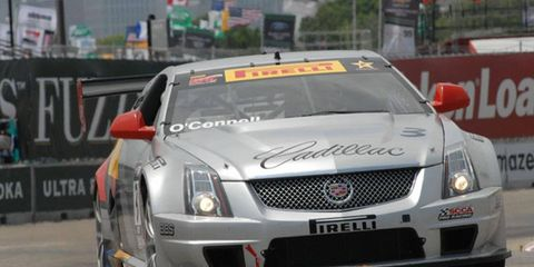 Johnny O'Connell, who won both races at Detroit last year, will start from the pole for Saturday's Pirelli World Challenge GT race Belle Isle Park.