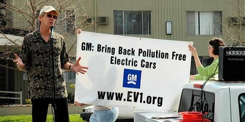 EV activist Paul Scott has been at this quite a while. Here he is protesting the end of the GM EV1 program.