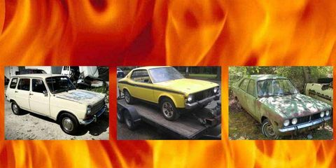 Simca, Colt or Cricket? Any of these Mopar beauties would keep you warm all winter in the Hell Garage.