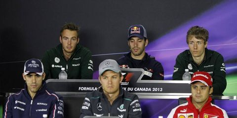 This ecstatic-looking group of Formula One drivers took part in Thursday's press conference from Montreal.