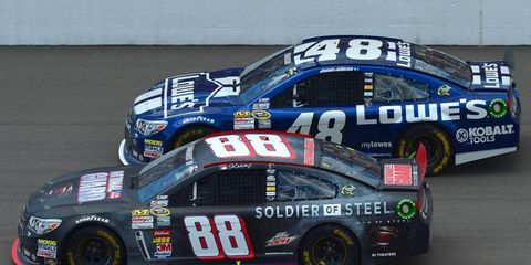 Dale Earnhardt Jr. (88) and Jimmie Johnson (48) were both in the hunt at Michigan before falling out of contention. Johnson was the top finisher from the Hendrick Motorsports stable, in 28th.