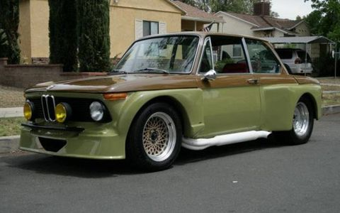 The motor in this 1969 BMW 2002 was swapped for a Ford 5.0-liter.