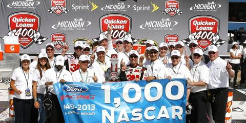 Greg Biffle won Sunday's Sprint Cup race at Michigan, giving Ford its 1,000th win.