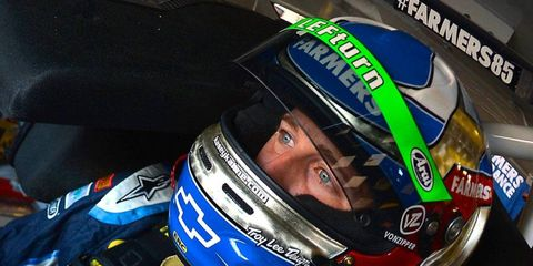 """NASCAR Sprint Cup Series driver Kasey Kahne's visor sports a """"LEFturn"""" decal on his driver's helmet on it this weekend at Michigan International Speedway. Lefturn was Leffler's nickname among his fellow racers."""