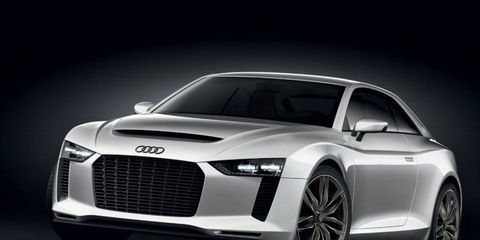 The new Audi Quattro may be able to keep up with the R8 V10 and should weigh less than the S5. Audi's quattro concept, which debuted in 2010, is shown.
