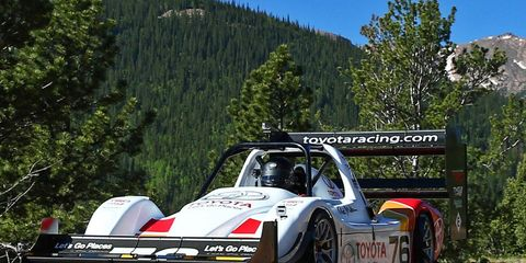 Rod Millen puts his Toyota TMG EV P002 during a recent test session.