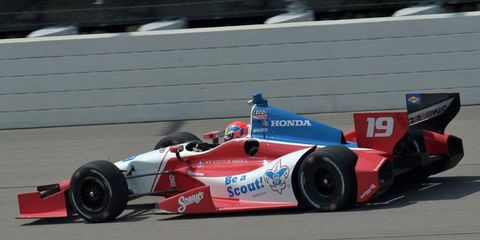 Justin Wilson, shown here racing an Indy car at Iowa, will be racing in the Grand-Am Series at Watkins Glen.
