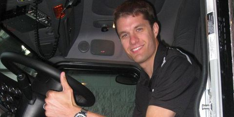 NASCAR Sprint Cup Series driver David Ragan helped drive the Front Row Motorsports transporter from North Carolina to California this week.
