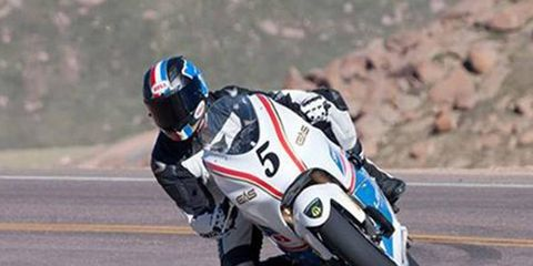 Carlin Dunne raced his electric motorcycle up Pikes Peak in just over 10 minutes.