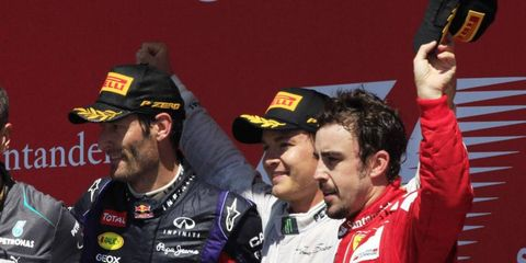 Mark Webber, Nico Rosberg and Fernando Alonso all were on the podium Sunday after the British Grand Prix.
