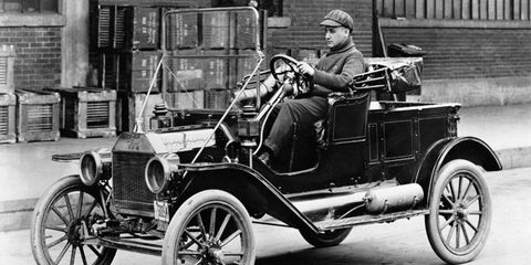 The Ford Model T was produced from 1908-1927. Pictured here is a 1914