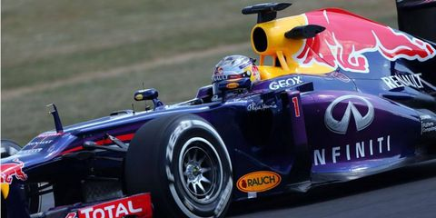 Sebastian Vettel, one of several Formula One racers in action, posted the best time on the final day of testing at Silverstone on Friday.