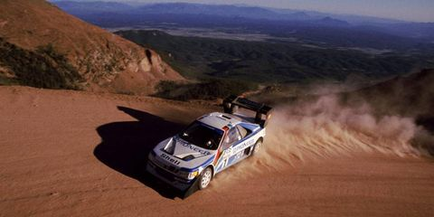 The Peugeot 405 Turbo 16 raced to a new Pikes Peak record in 1988 behind Finnish driver Ari Vatanen