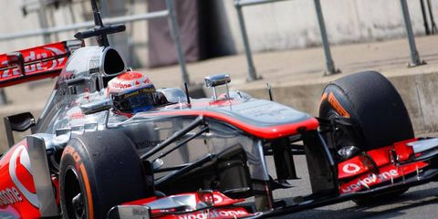 Kevin Magnussen logged 100 laps during the first day of the Formula One Young Drivers Test at Silverstone on Wednesday.