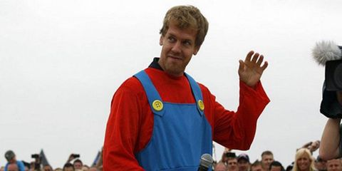 Formula One champion Sebastian Vettel dressed as Super Mario for a soapbox derby event over the weekend.