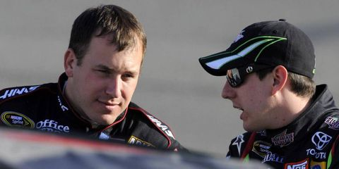 Kyle Busch didn't appear to have any problem talking to Ryan Newman a few years ago in Fontana, but now, he thinks the driver of the No. 39 car is an ogre...