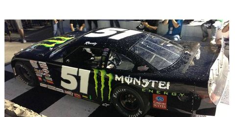 Kyle Busch came up a winner at the Milwaukee Mile on Tuesday night in his Late Model car.