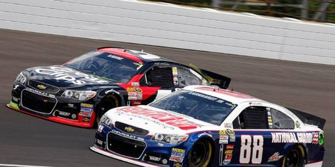 Dale Earnhardt Jr. (88) raced with a heavy heart to a sixth-place finish at Indianapolis on Sunday.