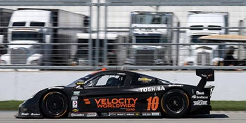 Jordan Taylor won the pole for Friday's three-hour Grand-Am race at the Indianapolis Motor Speedway.