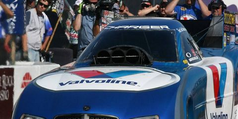 Jack Beckman was the No. 1 qualifiyer in the Funny Car division in NHRA action on Saturday.