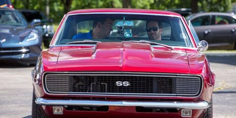 Jimmie Johnson drives his 1967 Chevy Camaro in anticipation of the Woodward Dream Cruise