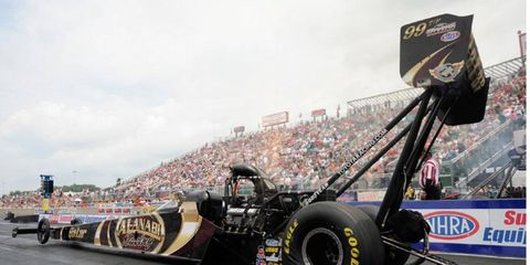 Khalid AlBalooshi is looking to move up in the Top Fuel standings.