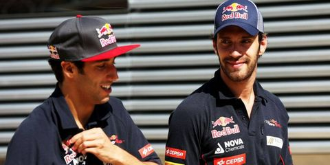Jean-Eric Vergne (right) has gone on record as saying he's a better choice for Red Bull Racing's vacant seat than teammate Daniel Ricciardo.