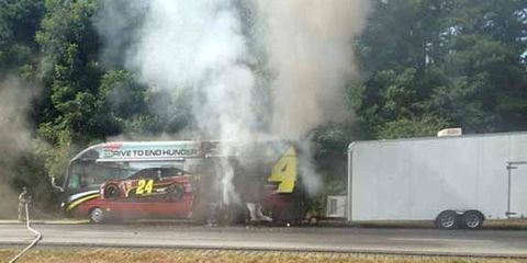 The fire was contained to the motor home, avoiding the trailer it was pulling.