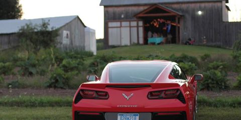 The 2014 Corvette Stingray parked outside a barn in Charlevoix, MI.