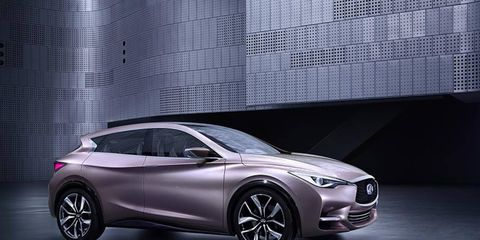 Q30 mixes the features of a hatchback, coupe, and crossover in this concept, to be shown at the Frankfurt Motor Show.