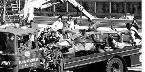 The remnants of Niki Lauda's car after he was involved in a near-fatal crash at the German Grand Prix.
