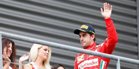 Fernando Alonso moved into second place in the Formula One points chase with his runner-up finish in Belgium on Sunday.