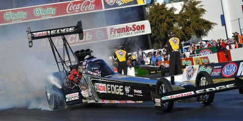 Brittany Force continued her stellar rookie season by qualifying first in Top Fuel competition at Indianapolis.