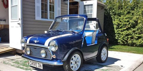 We're not sure where the builder found two and a half feet to cut from the Mini's wheelbase, but here's the result.