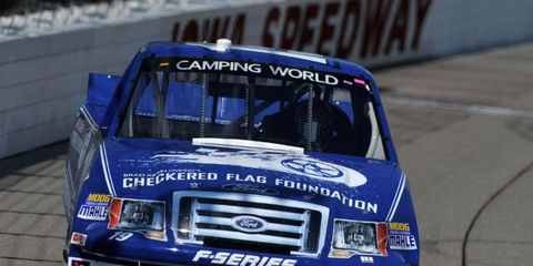 Ross Chastain captured his first career NASCAR Truck Series pole in 36 tries on Saturday in Iowa.