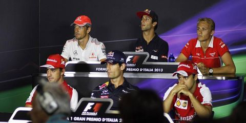 Six Formula One drivers took part in the weekly press conference. Formula One is in Italy this weekend.