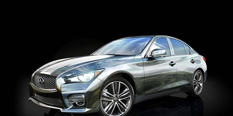 The 2014 Thom Browne Infiniti Q50 has a mirror-like chrome finish on the outside.