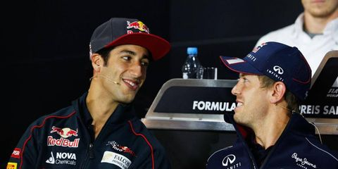 Daniel Ricciardo, left, and Sebastian Vettel will be teammates next year in Formula One with Red Bull Racing.
