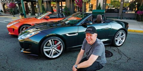 Callum in front of a pair of F-types, which competed with the rods and customs for attention on Woodward.