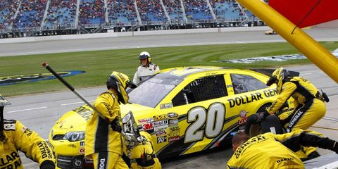 Matt Kenseth is currently in the lead at Chicagoland, although rain has the cars off the track.