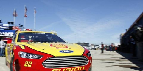 Joey Logano will be starting from the pole on Sunday for Chicago's Sprint Cup race.