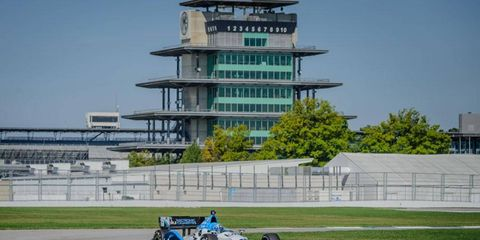 Graham Rahal tested the road course at the Indianapolis Motor Speedway in early September.