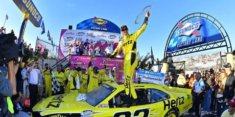 Joey Logano won Saturday's Nationwide race in Dover, but his car failed post-race inspection.