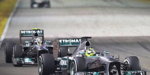 Nico Rosberg and Lewis Hamilton finished fourth and fifth in the Singapore Grand Prix.