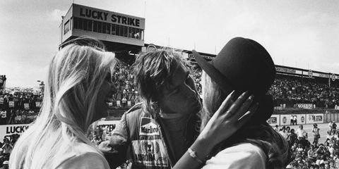 The real James Hunt at the track in 1976 lives up to his playboy reputation.