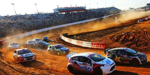 The dirt was flying at Charlotte for the Global Rallycross event on Sunday.