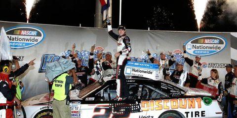 Ryan Blaney celebrates his NASCAR Nationwide Series win at Kentucky on Saturday night.