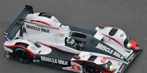 Lucas Luhr and Klaus Graf raced to the American Le Mans Series win at Circuit of the Americas on Saturday.