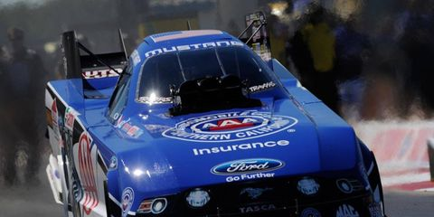 Robert Hight will be going for his third consecutive NHRA Funny Car win on Sunday.